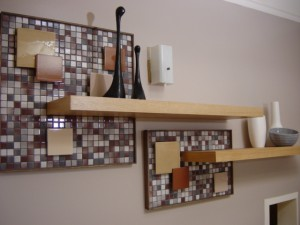Mid century mosaic tile backboard with cantilevered shelving. 2